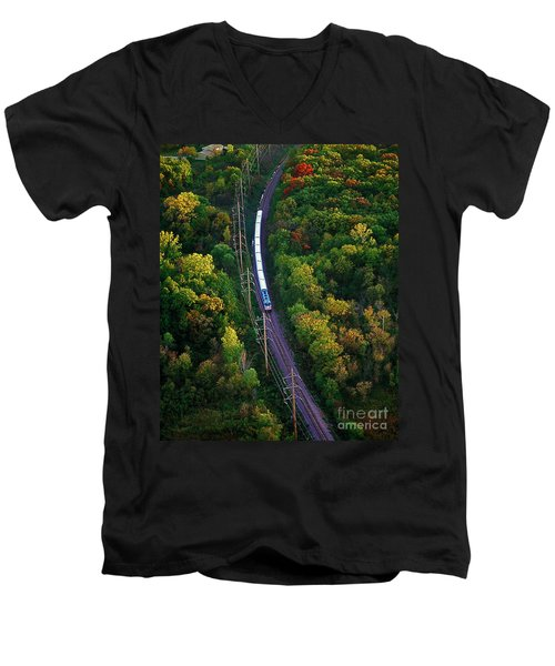 Aerial Of  Commuter Train  Men's V-Neck T-Shirt