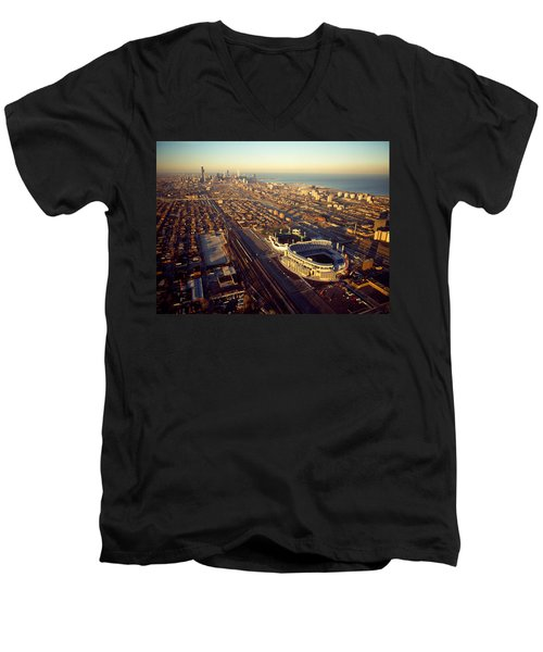 Aerial View Of A City, Old Comiskey Men's V-Neck T-Shirt by Panoramic Images