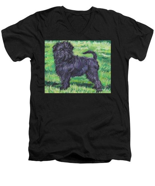 Men's V-Neck T-Shirt featuring the painting Affenpinscher by Lee Ann Shepard