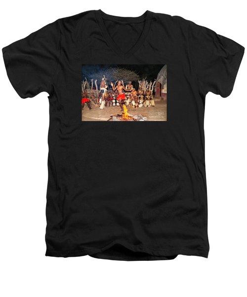 African Fire Dance Men's V-Neck T-Shirt