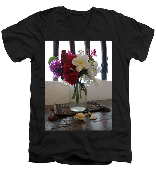 African Flowers And Shells Men's V-Neck T-Shirt