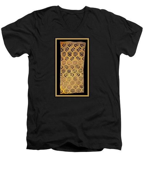 Men's V-Neck T-Shirt featuring the digital art African Kuba Cloth Print by Vagabond Folk Art - Virginia Vivier
