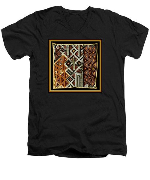 Men's V-Neck T-Shirt featuring the digital art African Kuba View From Earth by Vagabond Folk Art - Virginia Vivier