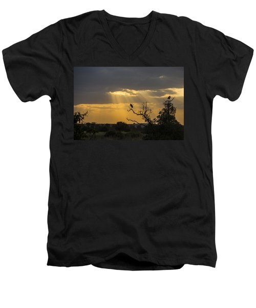 Men's V-Neck T-Shirt featuring the tapestry - textile African Sunset 2 by Kathy Adams Clark