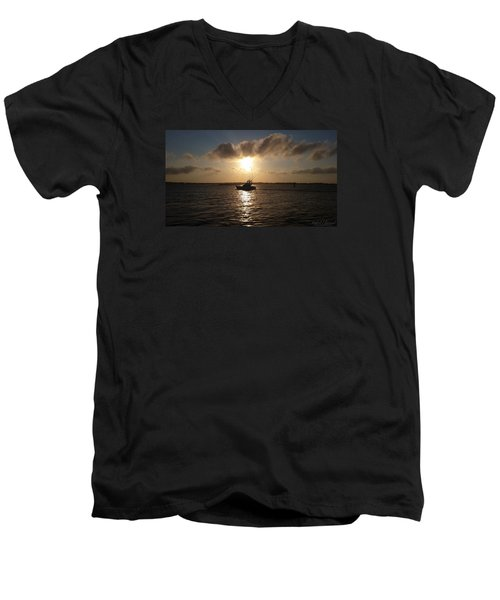 Men's V-Neck T-Shirt featuring the photograph After A Long Day Of Fishing by Robert Banach
