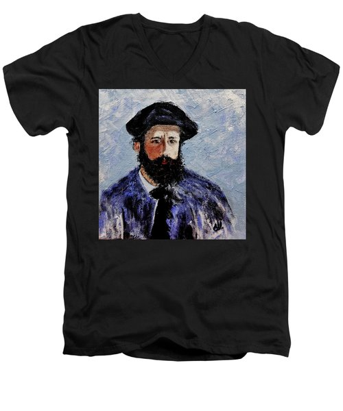 Men's V-Neck T-Shirt featuring the painting After Monet-self Portrait With A Beret  by Cristina Mihailescu