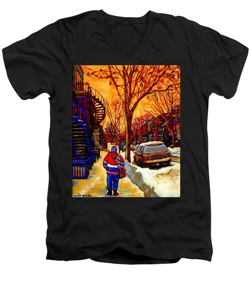 After The Hockey Game A Winter Walk At Sundown Montreal City Scene Painting  By Carole Spandau Men's V-Neck T-Shirt
