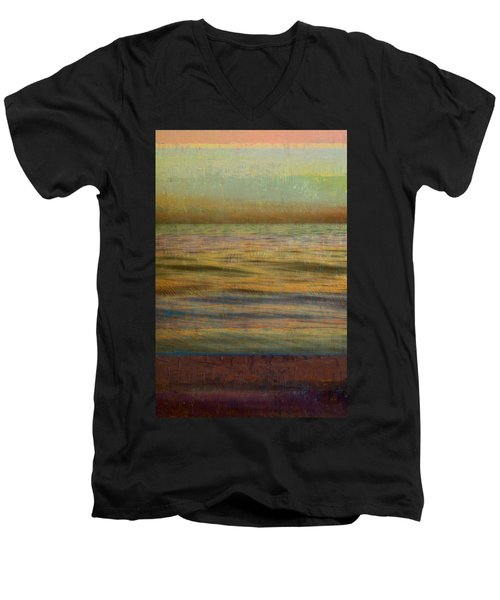 Men's V-Neck T-Shirt featuring the photograph After The Sunset - Teal Sky by Michelle Calkins