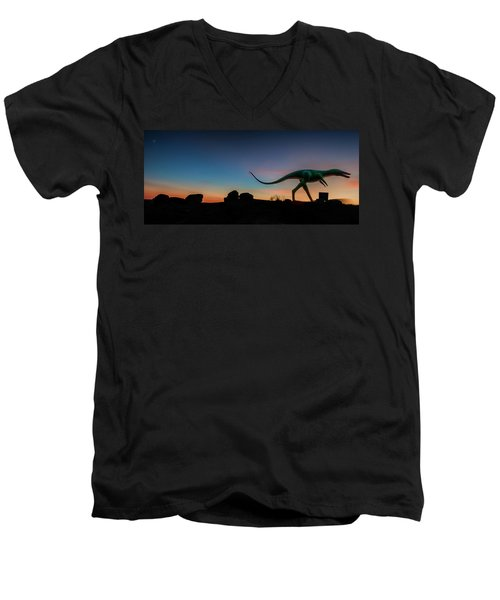 Afterglow Dinosaur Men's V-Neck T-Shirt