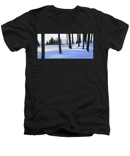 Afternoon In Snowy Mountains Men's V-Neck T-Shirt