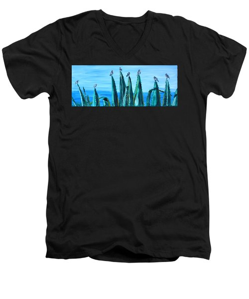 Agave With Sparrows Men's V-Neck T-Shirt by Valerie Ornstein