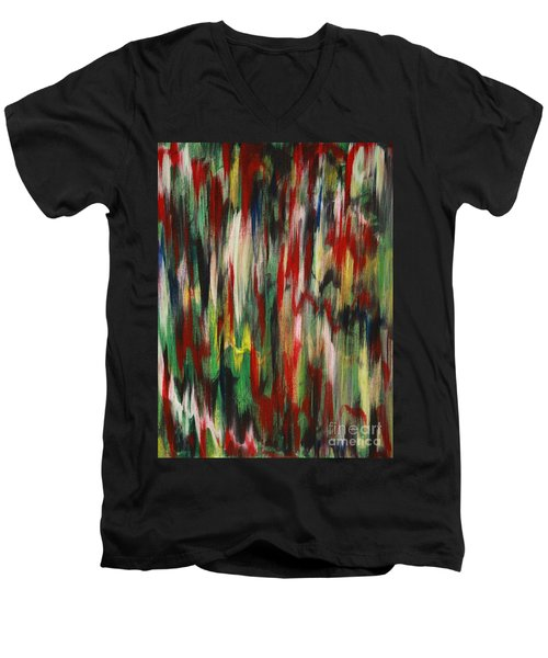 Men's V-Neck T-Shirt featuring the painting Agony by Jacqueline Athmann