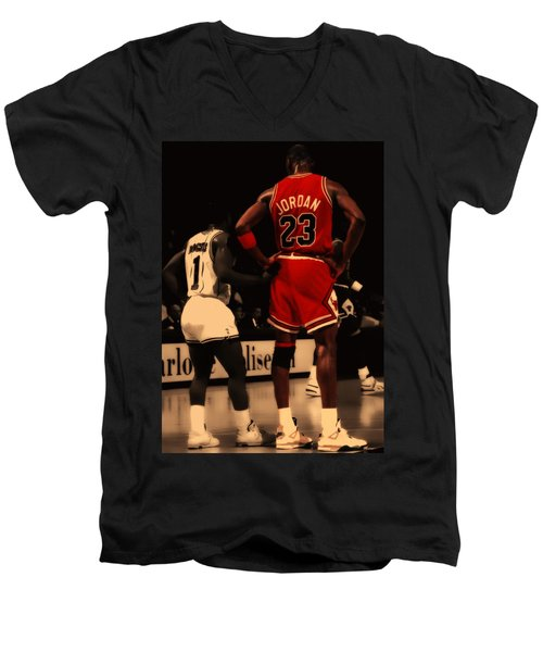 Air Jordan And Muggsy Bogues Men's V-Neck T-Shirt