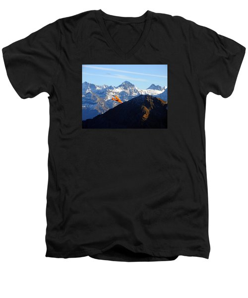 Airplane In Front Of The Alps Men's V-Neck T-Shirt by Ernst Dittmar