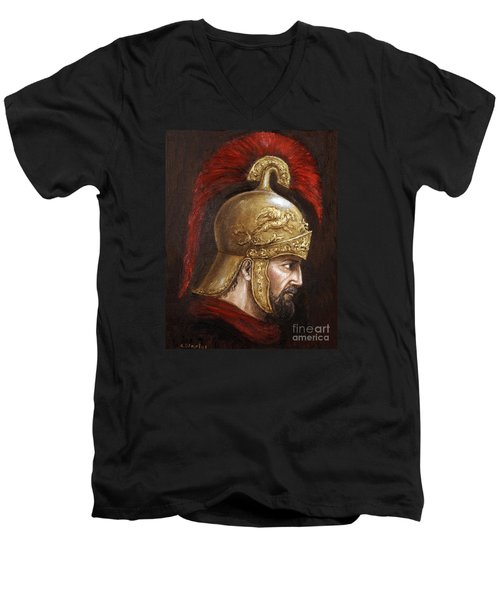 Men's V-Neck T-Shirt featuring the painting Ajax by Arturas Slapsys