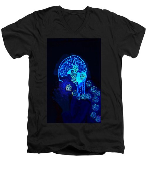 Al In The Mind Black Light View Men's V-Neck T-Shirt