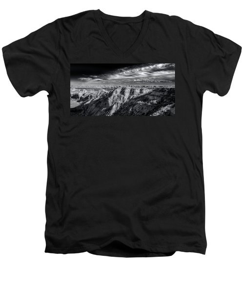 Men's V-Neck T-Shirt featuring the photograph Alberta Badlands by Wayne Sherriff