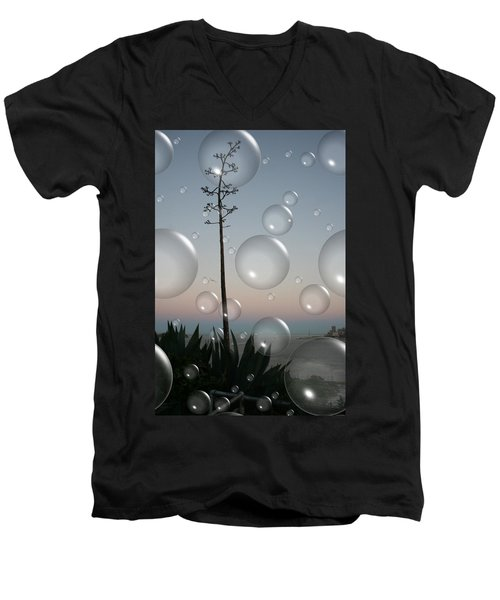 Men's V-Neck T-Shirt featuring the digital art Alca Bubbles by Holly Ethan