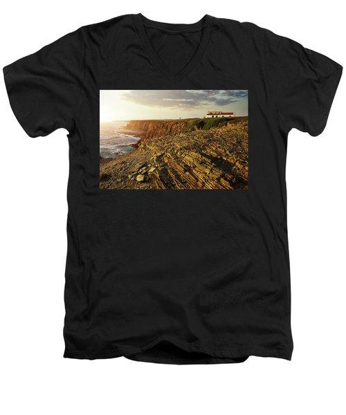 Men's V-Neck T-Shirt featuring the photograph Alentejo Cliffs by Carlos Caetano
