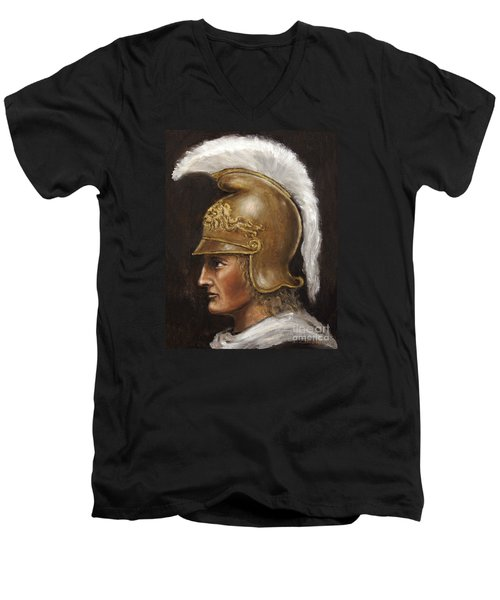 Men's V-Neck T-Shirt featuring the painting Alexander The Great by Arturas Slapsys