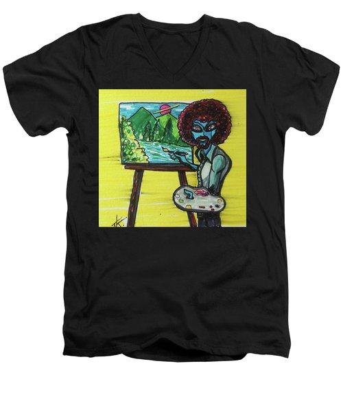alien Bob Ross Men's V-Neck T-Shirt by Similar Alien