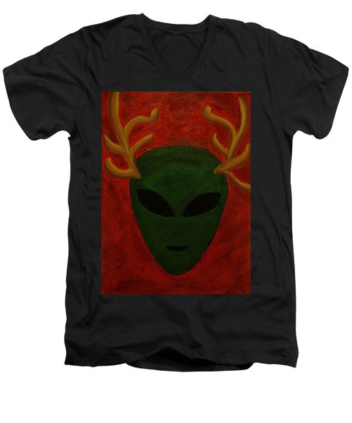 Men's V-Neck T-Shirt featuring the painting Alien Deer by Lola Connelly