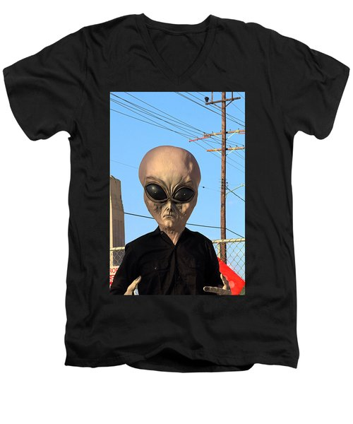 Men's V-Neck T-Shirt featuring the photograph Alien Face At 6th Street Bridge by Viktor Savchenko