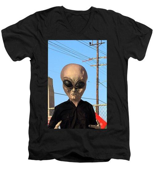 Alien Face At 6th Street Bridge Men's V-Neck T-Shirt