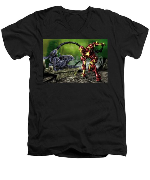 Alien Vs Iron Man Men's V-Neck T-Shirt