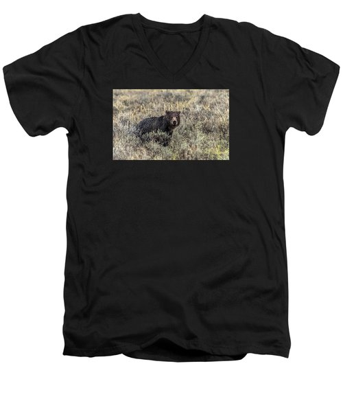 Men's V-Neck T-Shirt featuring the photograph All Alone by Yeates Photography