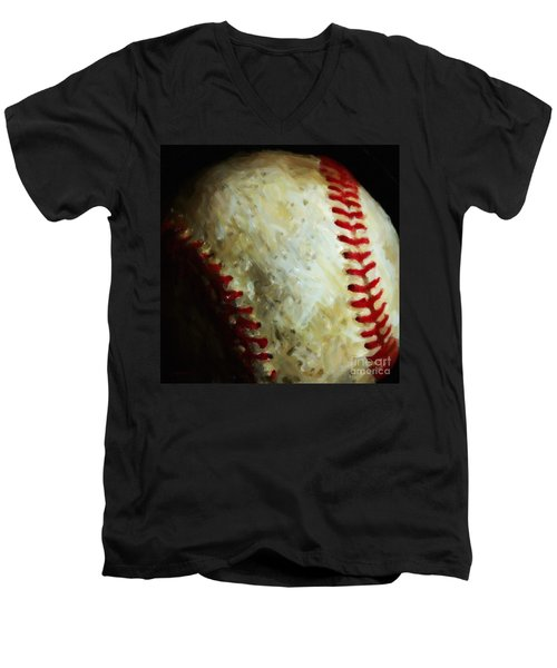 All American Pastime - Baseball - Square - Painterly Men's V-Neck T-Shirt