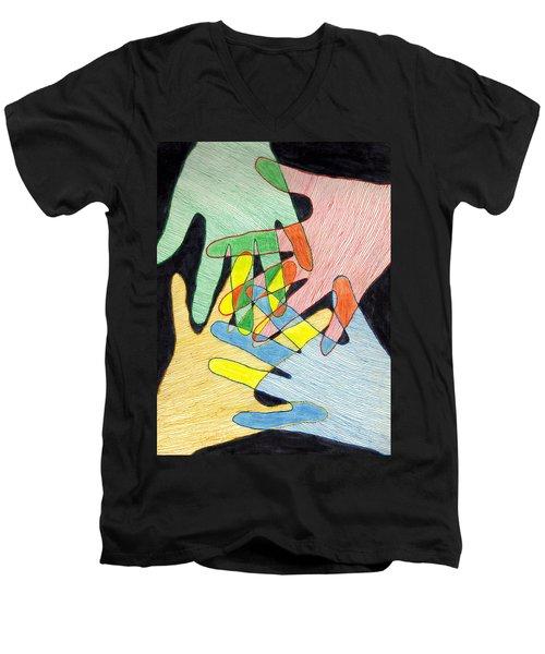 All In Men's V-Neck T-Shirt by Jean Haynes