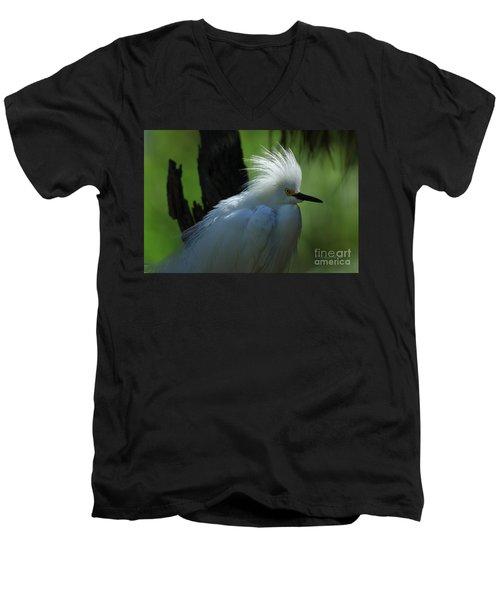 Men's V-Neck T-Shirt featuring the photograph Alligator Farm Snowy Egret by Deborah Benoit