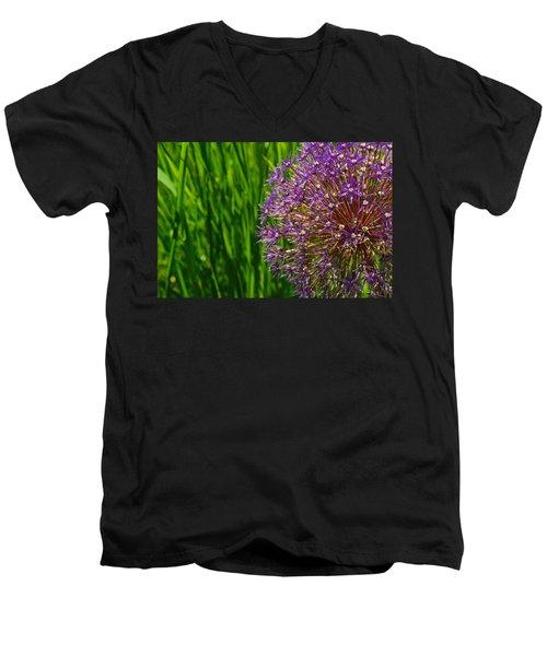 Allium Explosion Men's V-Neck T-Shirt by Tim Good
