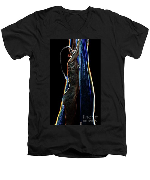 Men's V-Neck T-Shirt featuring the painting Allure Ll by Tbone Oliver