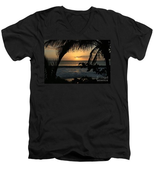 Aloha Aina The Beloved Land - Sunset Kamaole Beach Kihei Maui Hawaii Men's V-Neck T-Shirt by Sharon Mau
