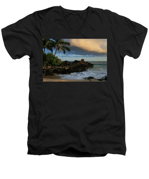Aloha Naau Sunset Paako Beach Honuaula Makena Maui Hawaii Men's V-Neck T-Shirt by Sharon Mau