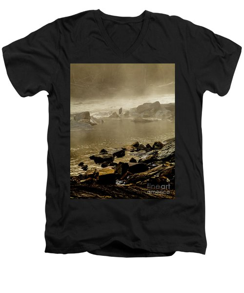 Men's V-Neck T-Shirt featuring the photograph Alone In The Mist by Iris Greenwell
