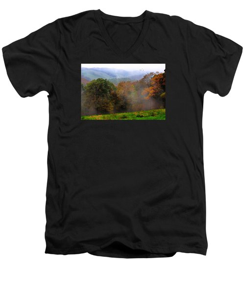 Men's V-Neck T-Shirt featuring the photograph Along The Brp by Joan Bertucci