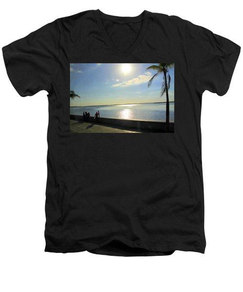 Along The Malecon In Cienfuegos, Cuba Men's V-Neck T-Shirt
