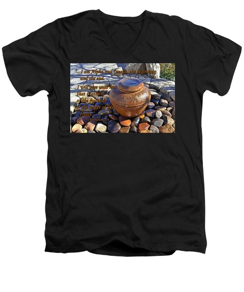 Men's V-Neck T-Shirt featuring the photograph Alpha And Omega by Larry Bishop