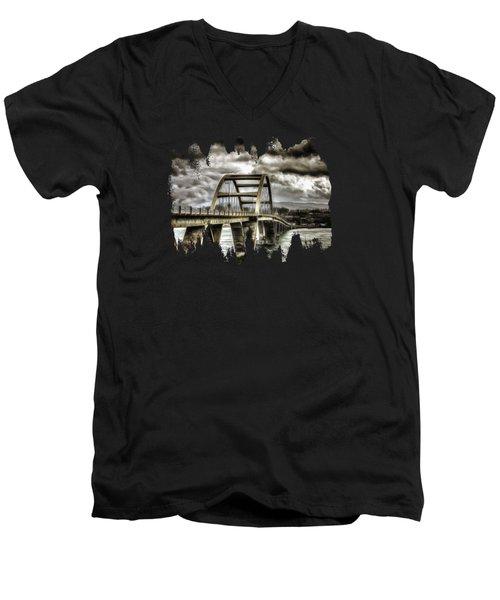 Alsea Bay Bridge Men's V-Neck T-Shirt by Thom Zehrfeld