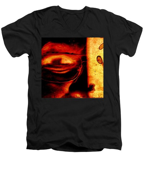 Altered Image In Red Men's V-Neck T-Shirt by Dan Twyman