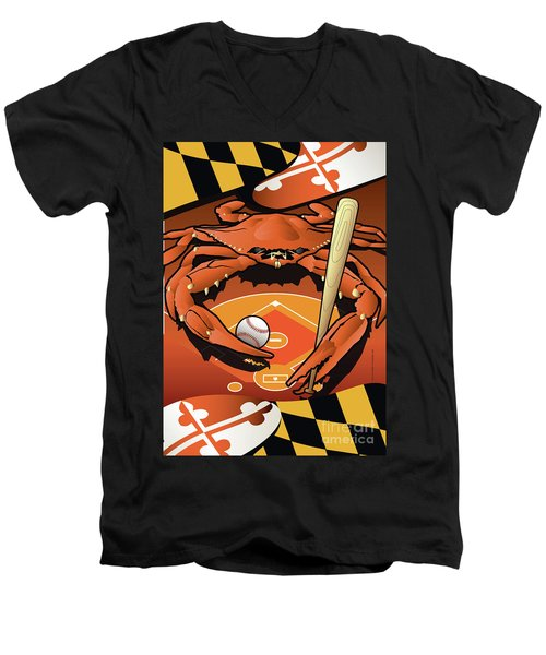 Baltimore Orioles Baseball Crab Maryland Men's V-Neck T-Shirt