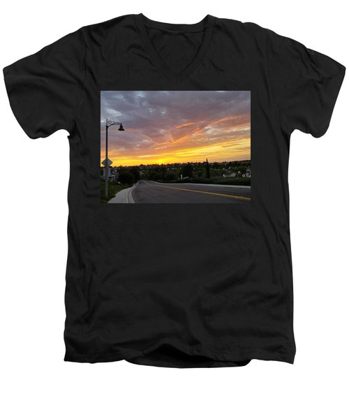 Colorful Sunset In Mission Viejo Men's V-Neck T-Shirt