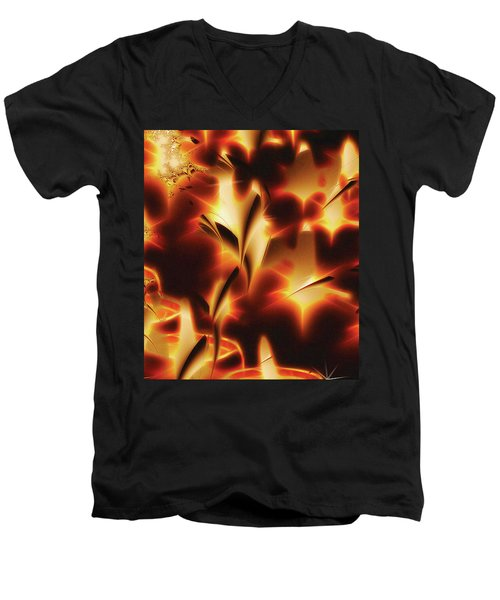 Men's V-Neck T-Shirt featuring the digital art Amber Dreams by Paula Ayers