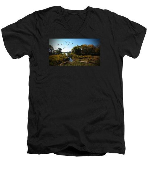 Amber Morning Men's V-Neck T-Shirt by Cedric Hampton