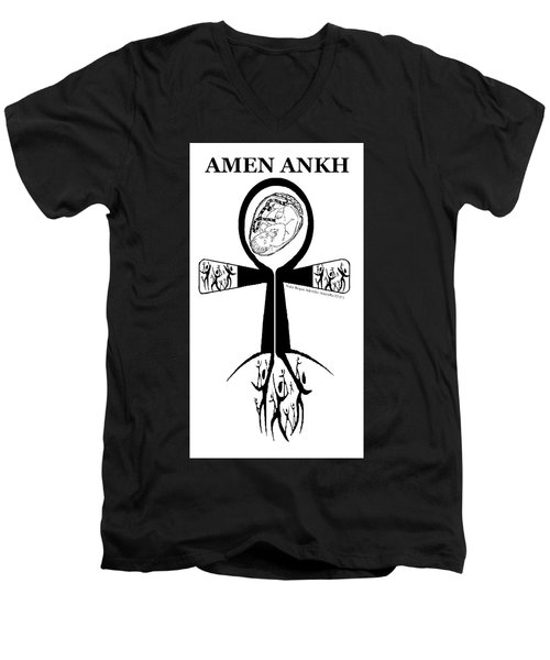 Amen Ankh Bw Men's V-Neck T-Shirt