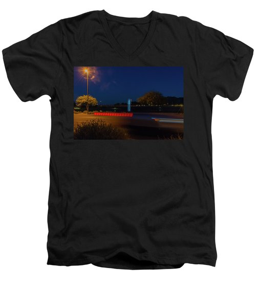 America At Night Men's V-Neck T-Shirt