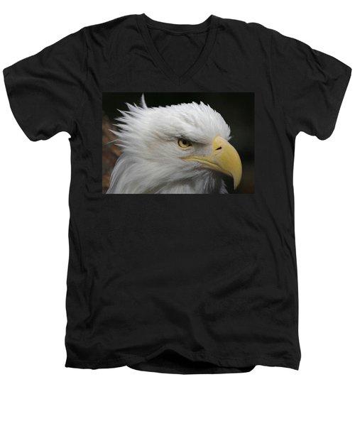 Men's V-Neck T-Shirt featuring the digital art American Bald Eagle Portrait by Ernie Echols